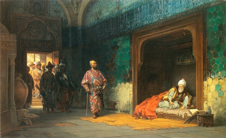 Bayezid as Timur's prisoner.