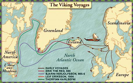 Map of the Viking voyages.