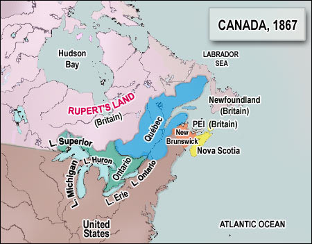 Map Of Canada During Confederation.Newfoundland And Labrador 1867 Canadian Confederation