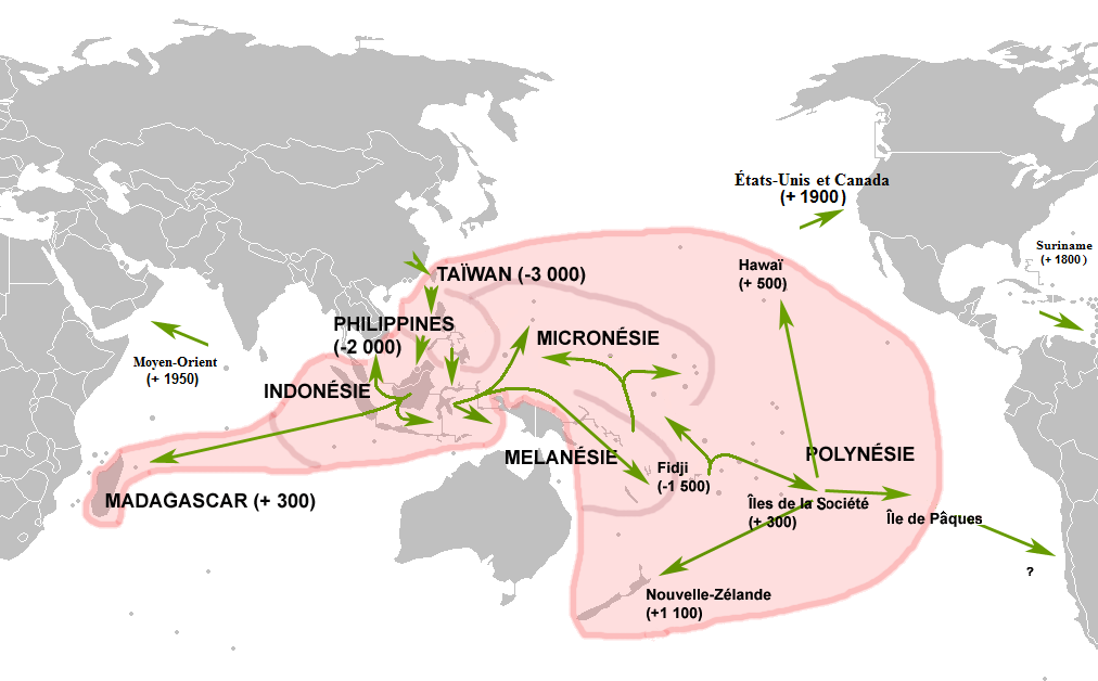 Map of the Austronesian/Polynesian migration.