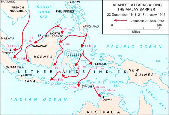 The 1942 conquest of Indonesia.