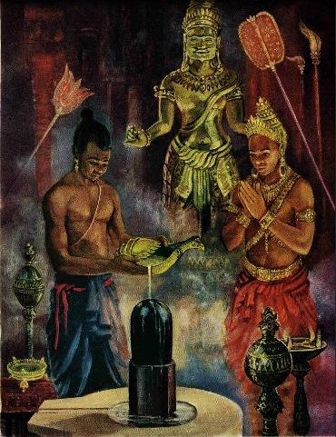 Jayavarman II and his high priest.