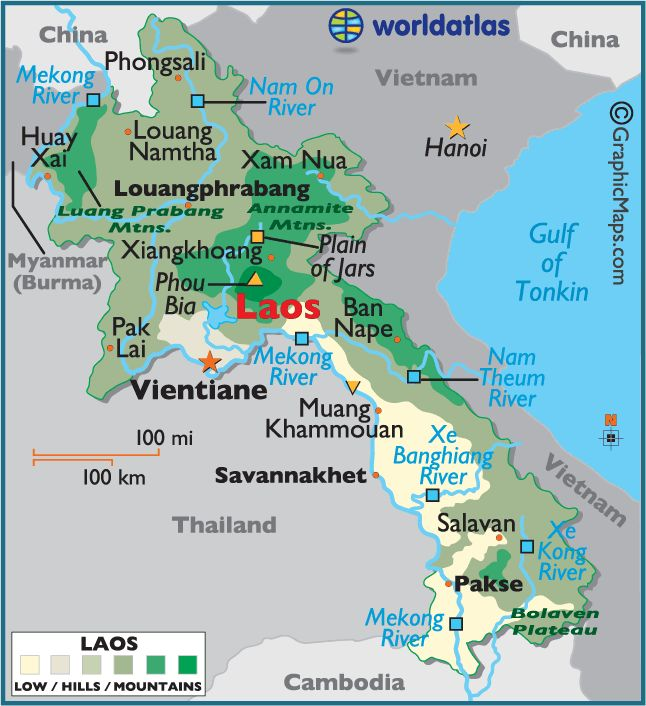 Map of Laos.
