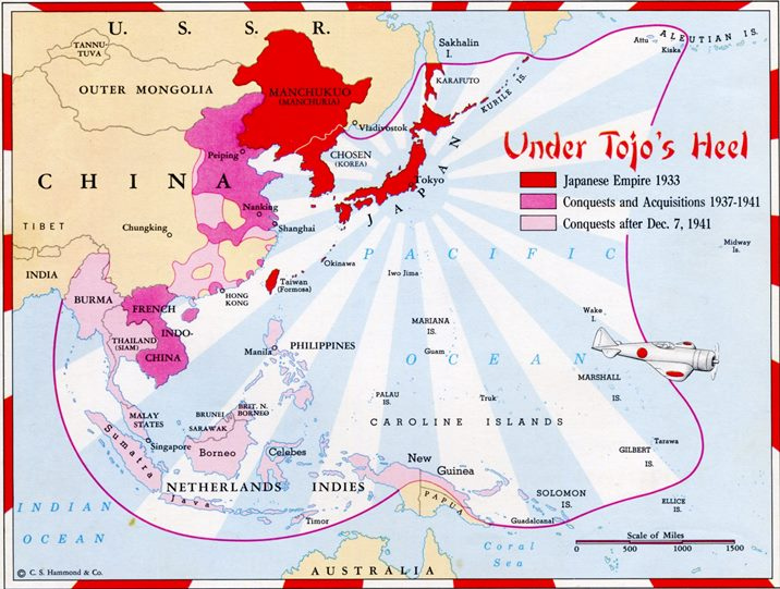 Map of the Japanese Empire, 1933 to 1944.